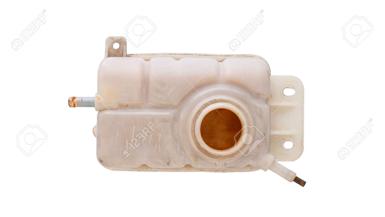 Engine cooling, Car coolant reservoir spare tank isolated white background . - 166001366