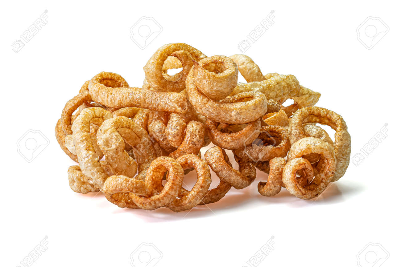 Pork snack or Pork rind leather lean pork fried crispy and blistered isolated on white background. Thai food, Close-up - 166001367