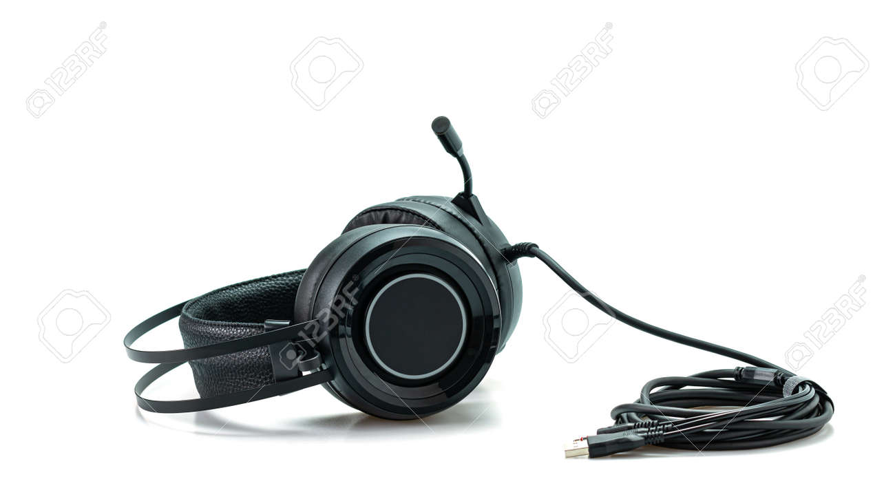 High-quality black headphones on a white background. - 165049886