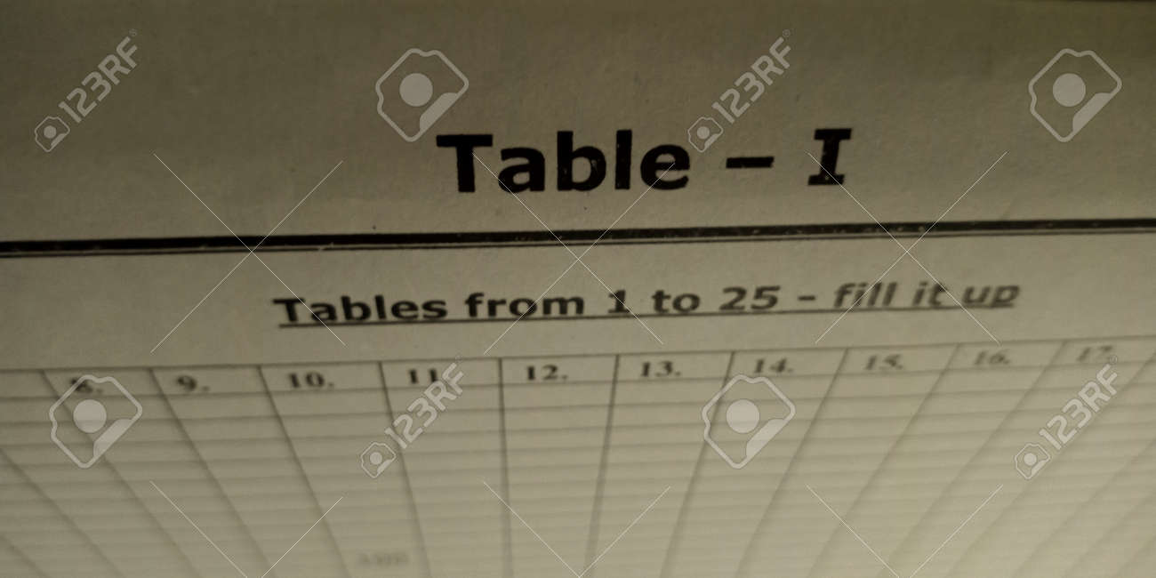 Table diagram educational text displayed on paper in english language on numerical format background. - 152538177