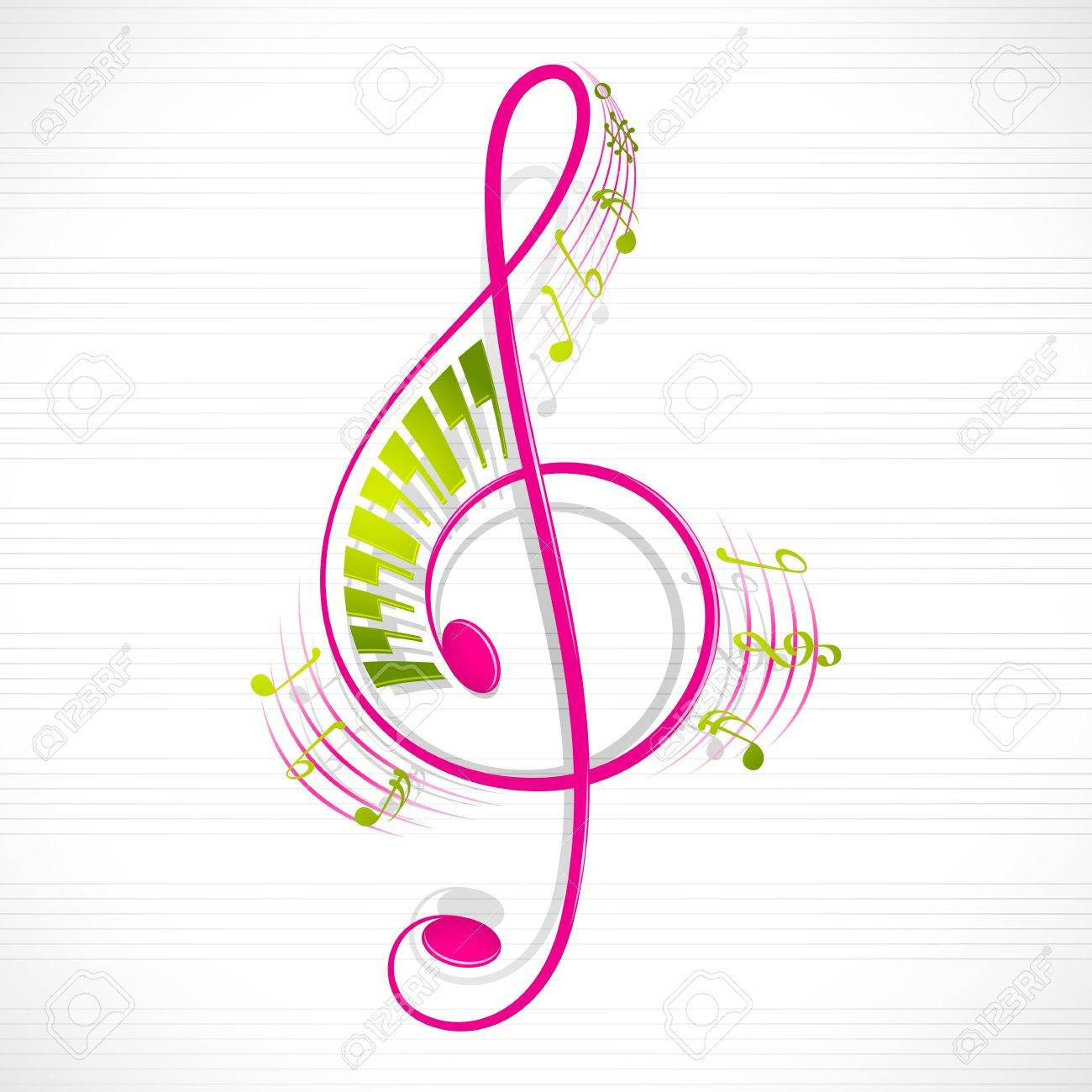 Musical notes staff background on white vector by tassel78 image - Treble Clef Vector Illustration Of Colorful Floral Musical Note