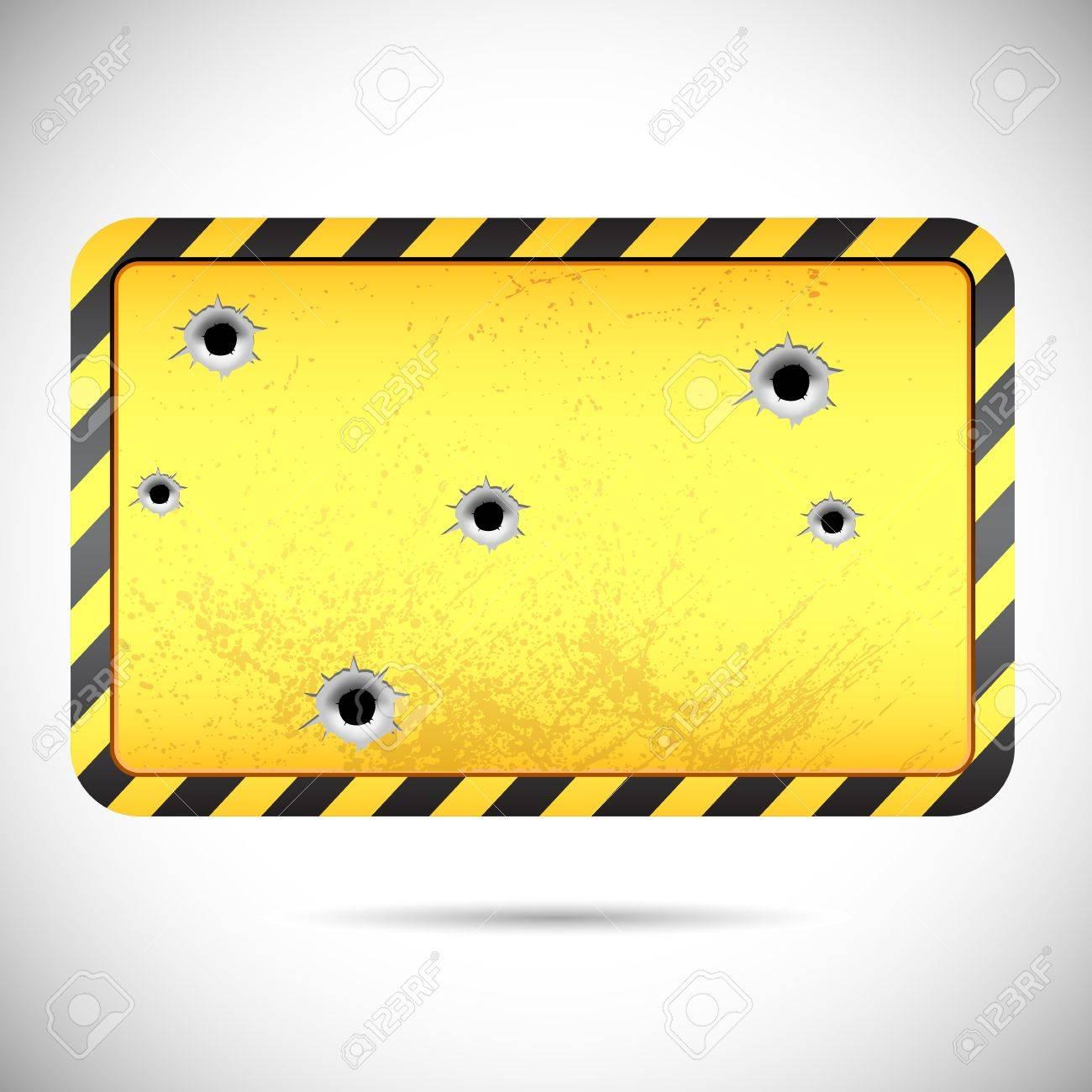 vector illustration of bullet holes on hazard board Stock Vector - 13128709