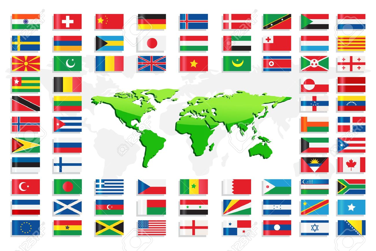 Country flags with world map royalty free cliparts vectors and country flags with world map stock vector 13533428 gumiabroncs Choice Image