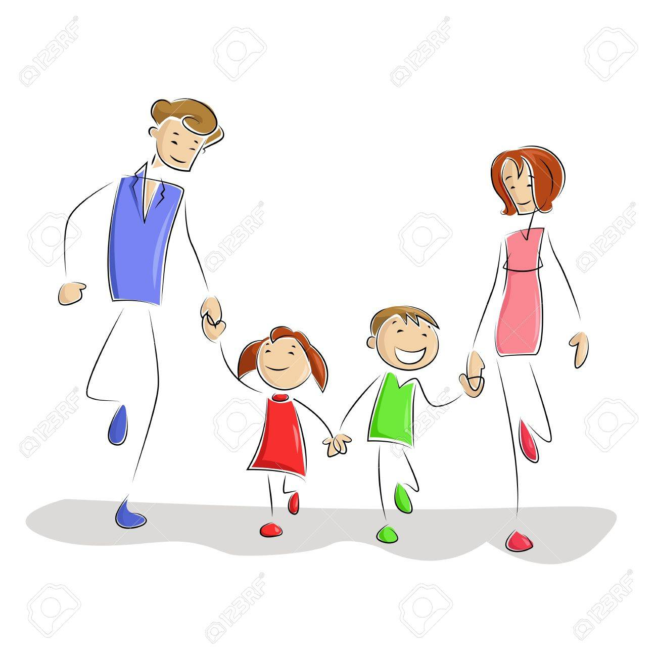 Playing Family Stock Vector - 13700577