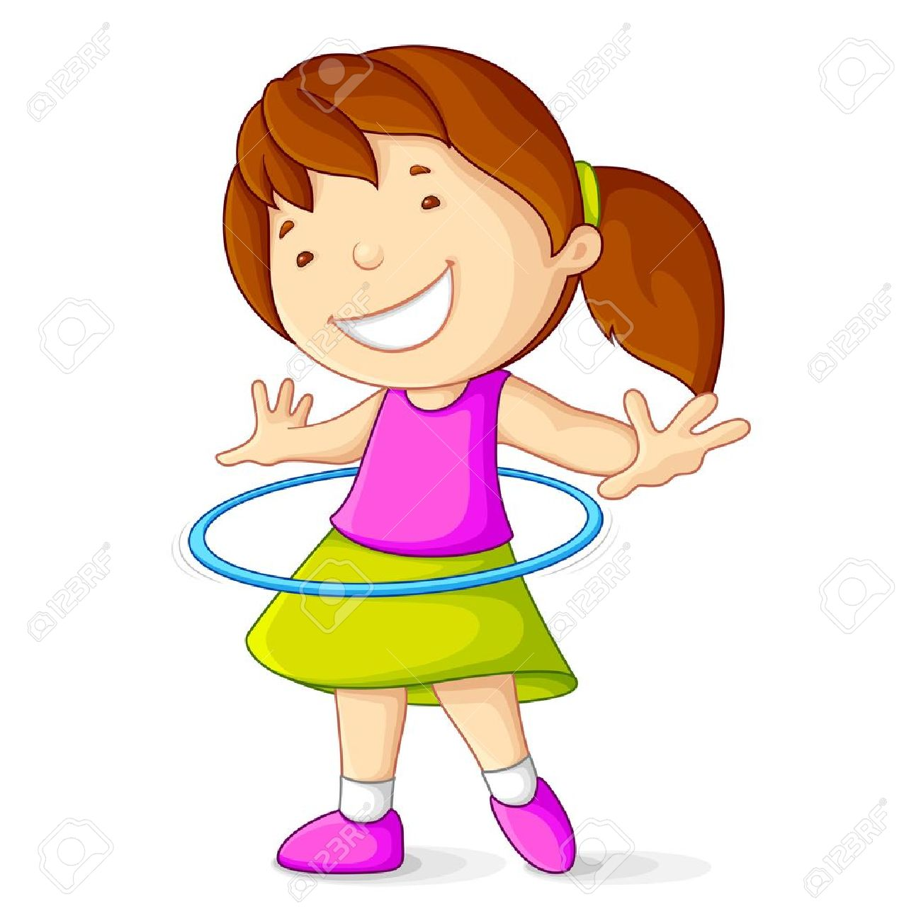Girl Playing with Hula Hoop Stock Vector - 14315261
