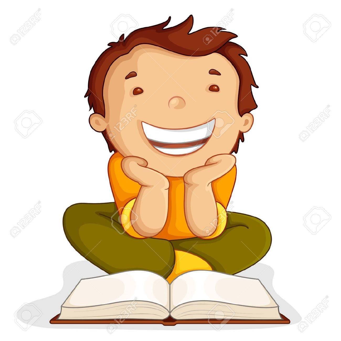 Kid reading Open Book Stock Vector - 14315259