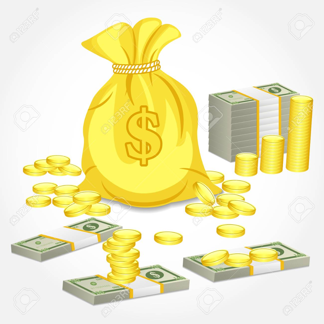 illustration of different form of money Stock Illustration - 14388215