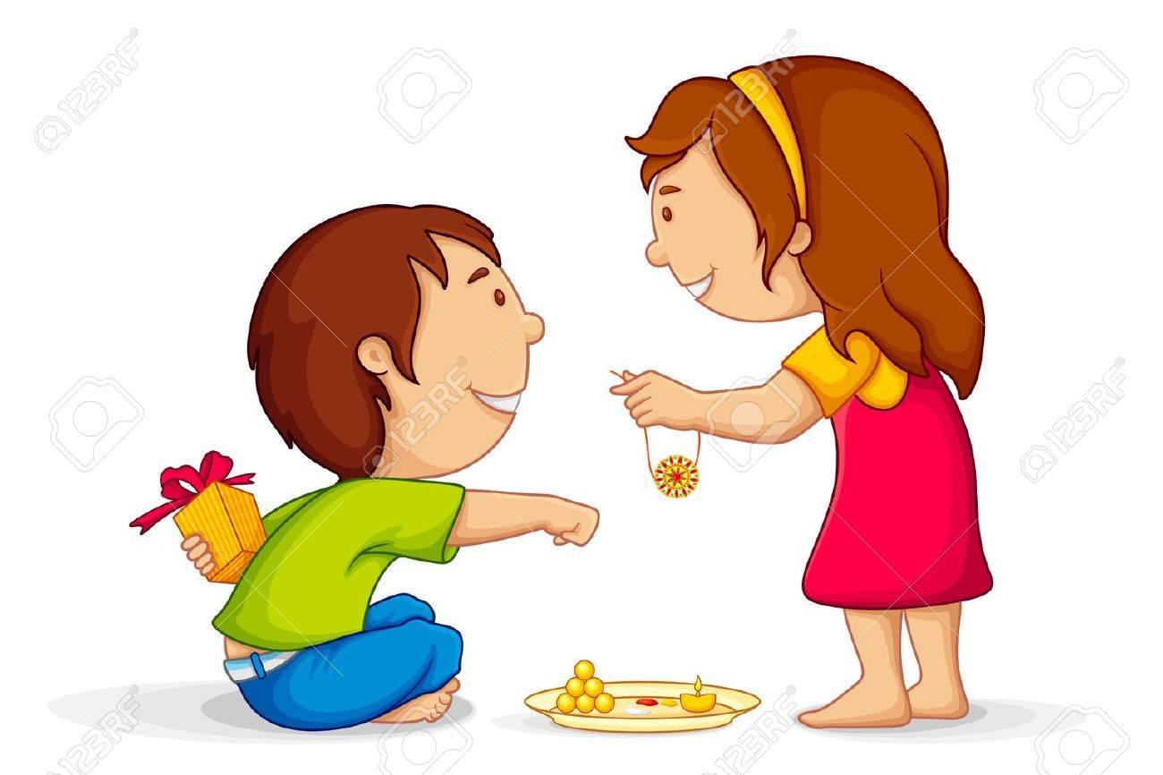 Illustration Of Brother And Sister Celebrating Raksha Bandhan Royalty Free  Cliparts, Vectors, And Stock Illustration. Image 14504611.