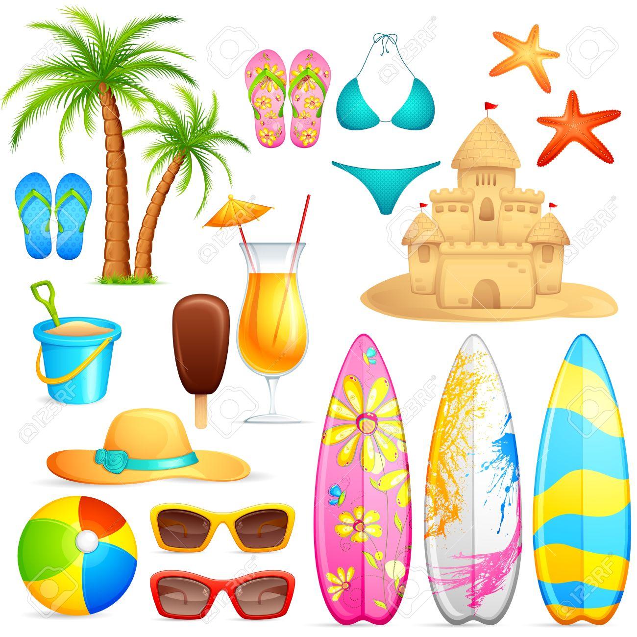 ilustración vectorial de objetos playa de mar sobre fondo blanco