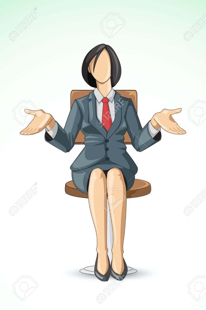 vector illustration of business woman sitting in chair Stock Vector - 14504554