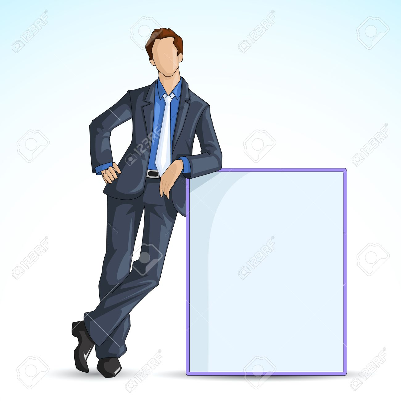 vector illustration of man leaning on blank board - 14504562
