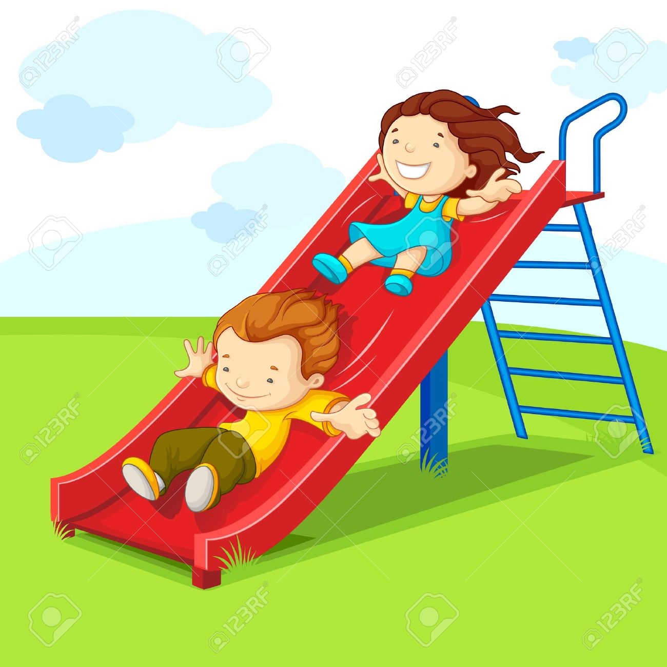 kids on slide royalty free cliparts, vectors, and stock illustration