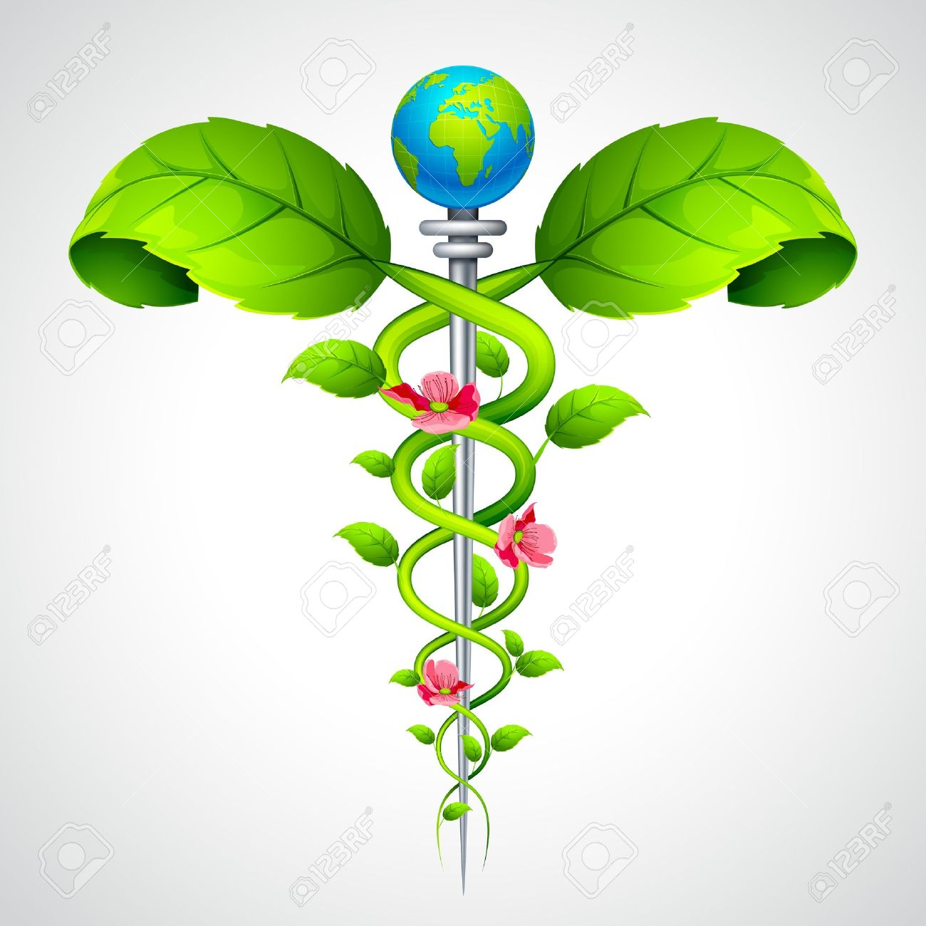 Caduceus sign with Leaf and Flowers - 14814144