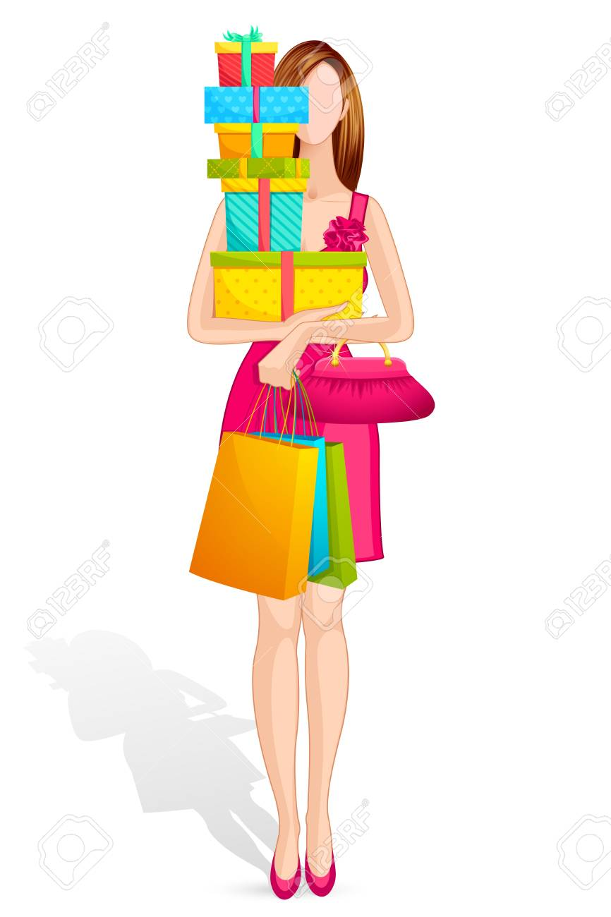 Lady with Gift Box Stock Vector - 14892380