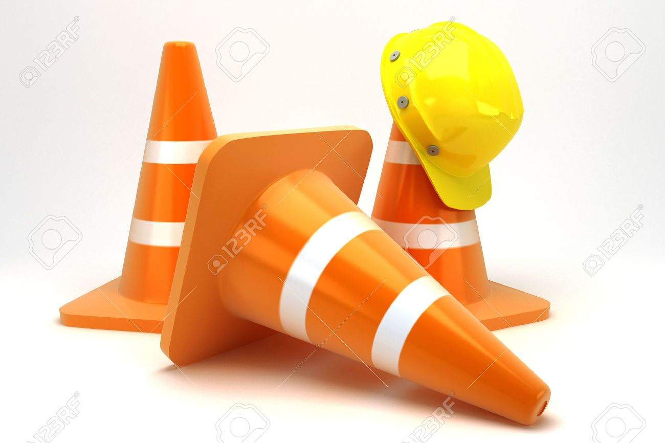 Construction Cone with Hard Hat Stock Photo - 14985401