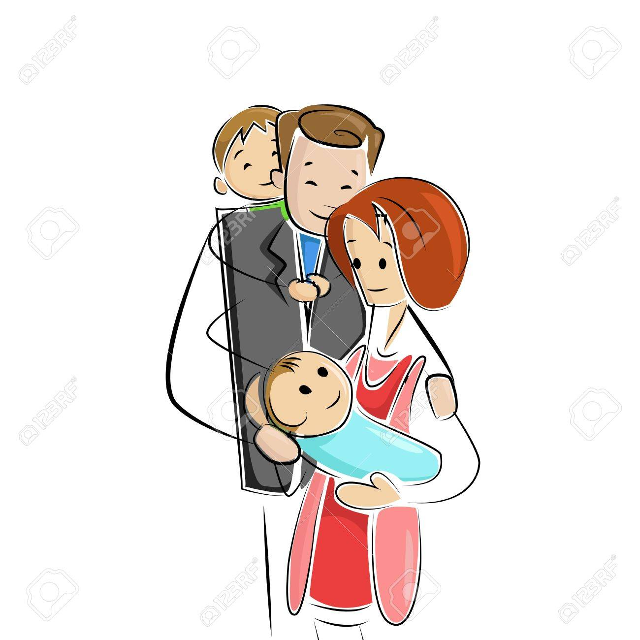 Family welcoming new born baby Stock Vector - 15110432