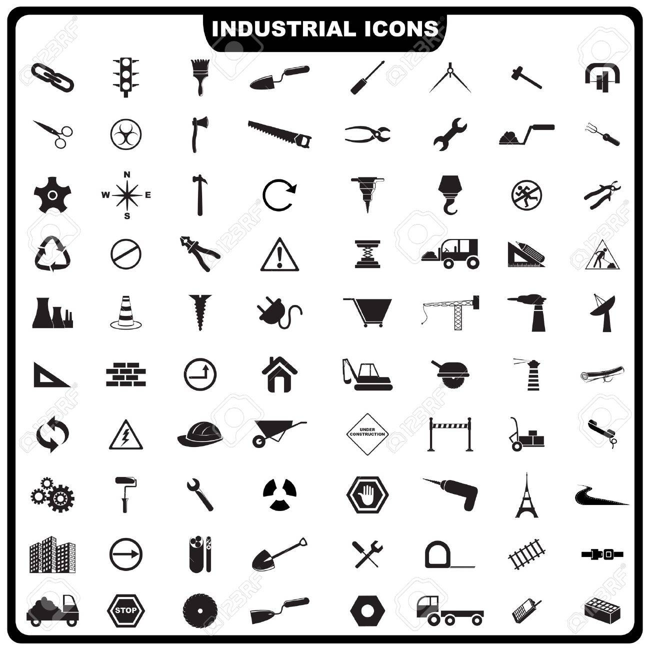 illustration of complete set of industrial icon Stock Vector - 16015347