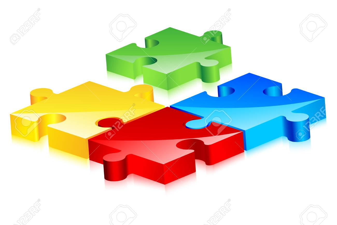 Colorful Jigsaw Puzzle Stock Vector - 17604403