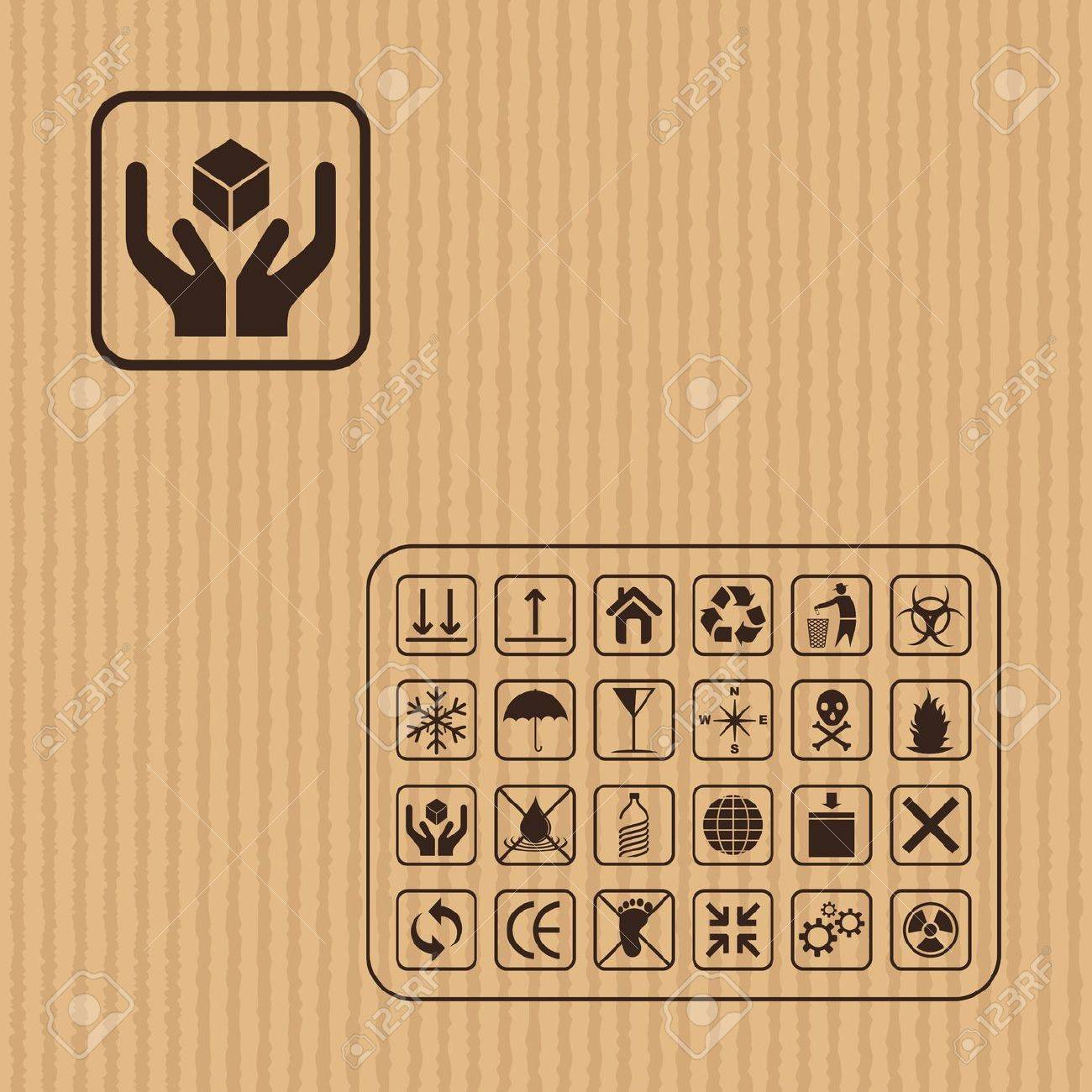Cargo symbol on Cardboard texture Stock Vector - 18029366