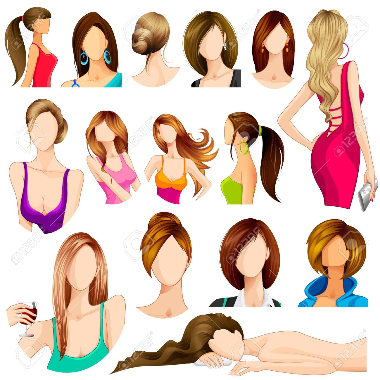 4,364 Long Hair Model Stock Illustrations, Cliparts And Royalty ...