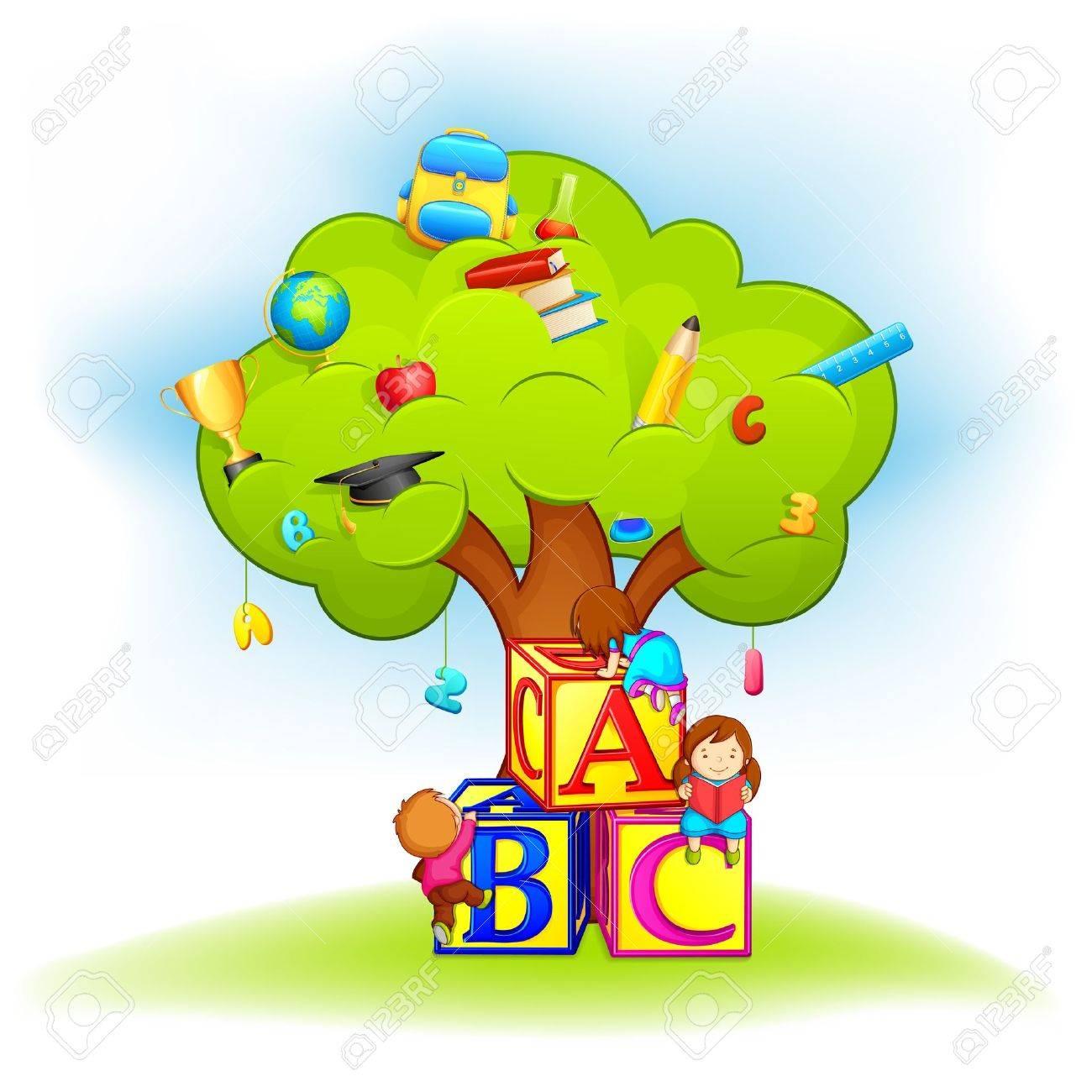 Kids Climbing Wisdom Tree Royalty Free Cliparts Vectors And Stock