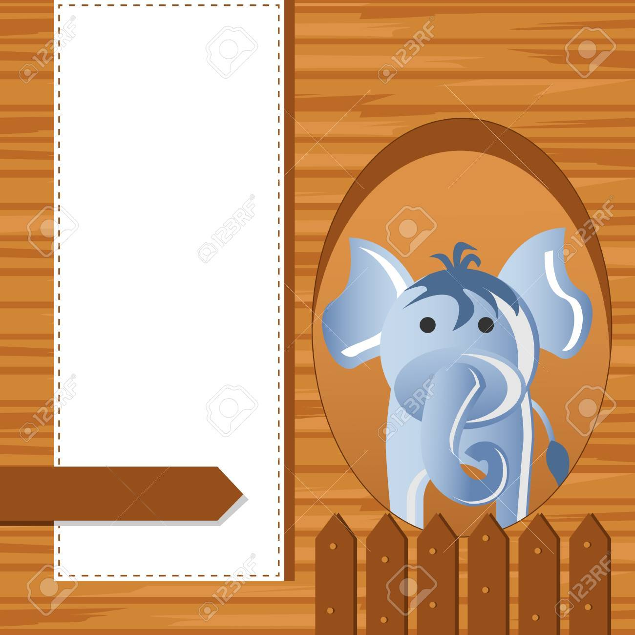 Elephant on Childish Background Stock Photo - 19259539