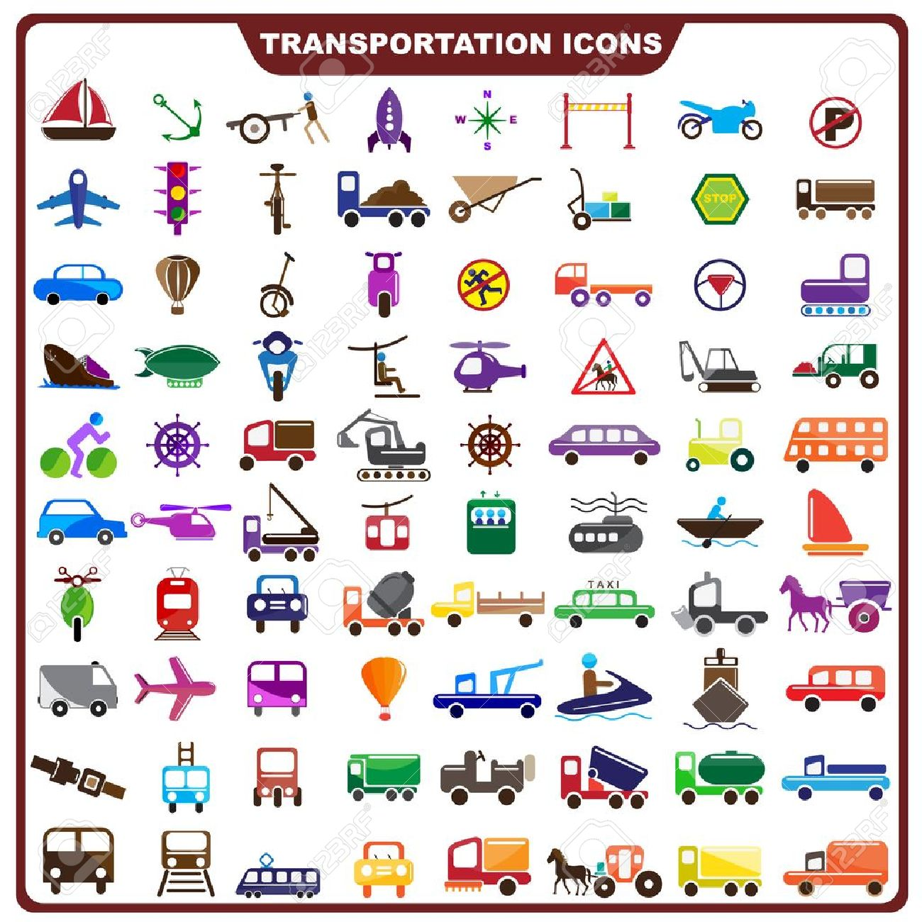 Colorful Transportation Icon Stock Vector - 19372681