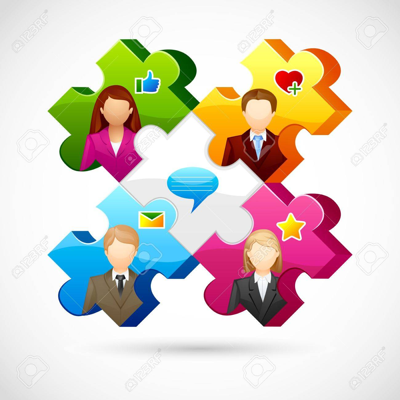 vector illustration of human jigsaw puzzle Stock Vector - 19372702