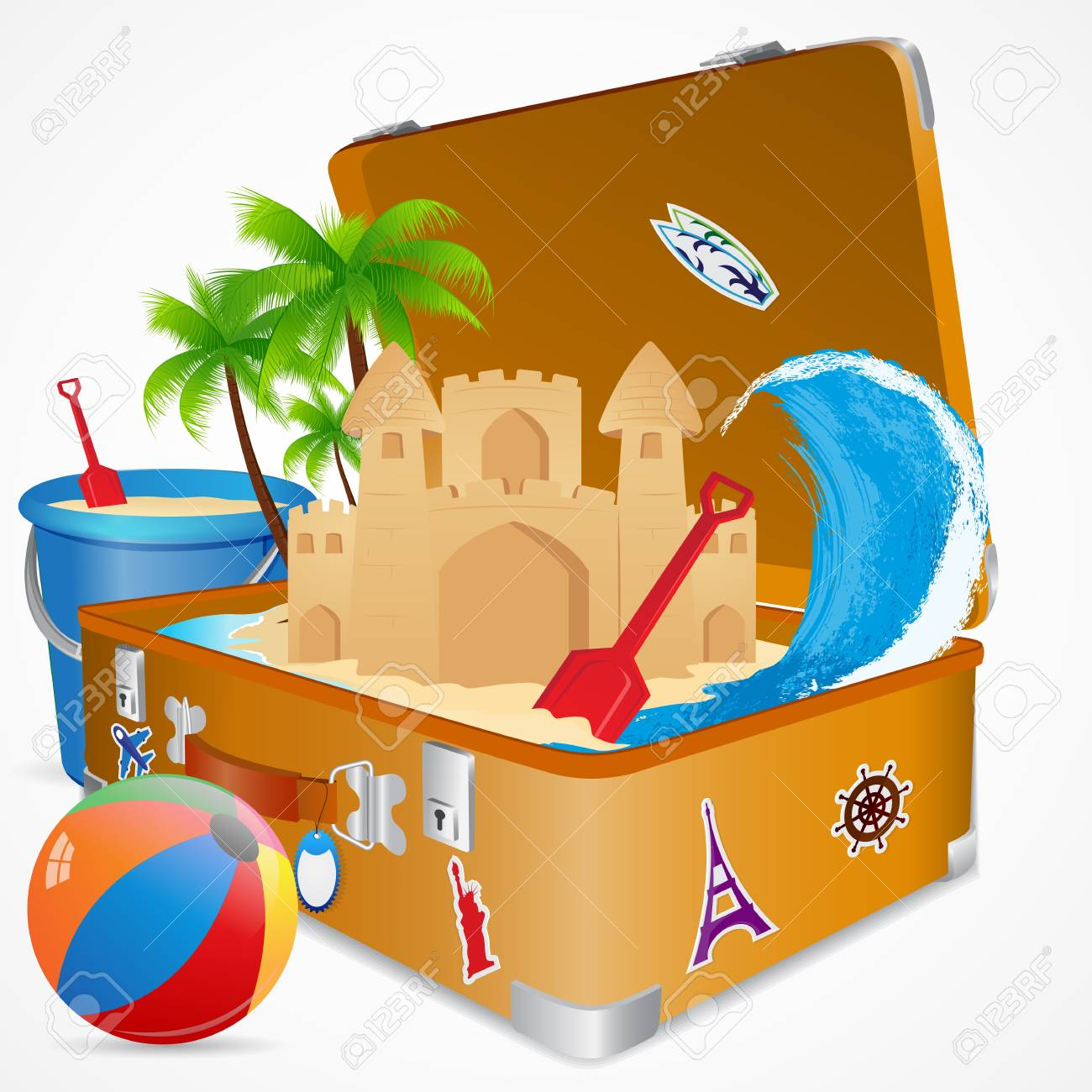 Travelling in Sea Beach Stock Vector - 19658931
