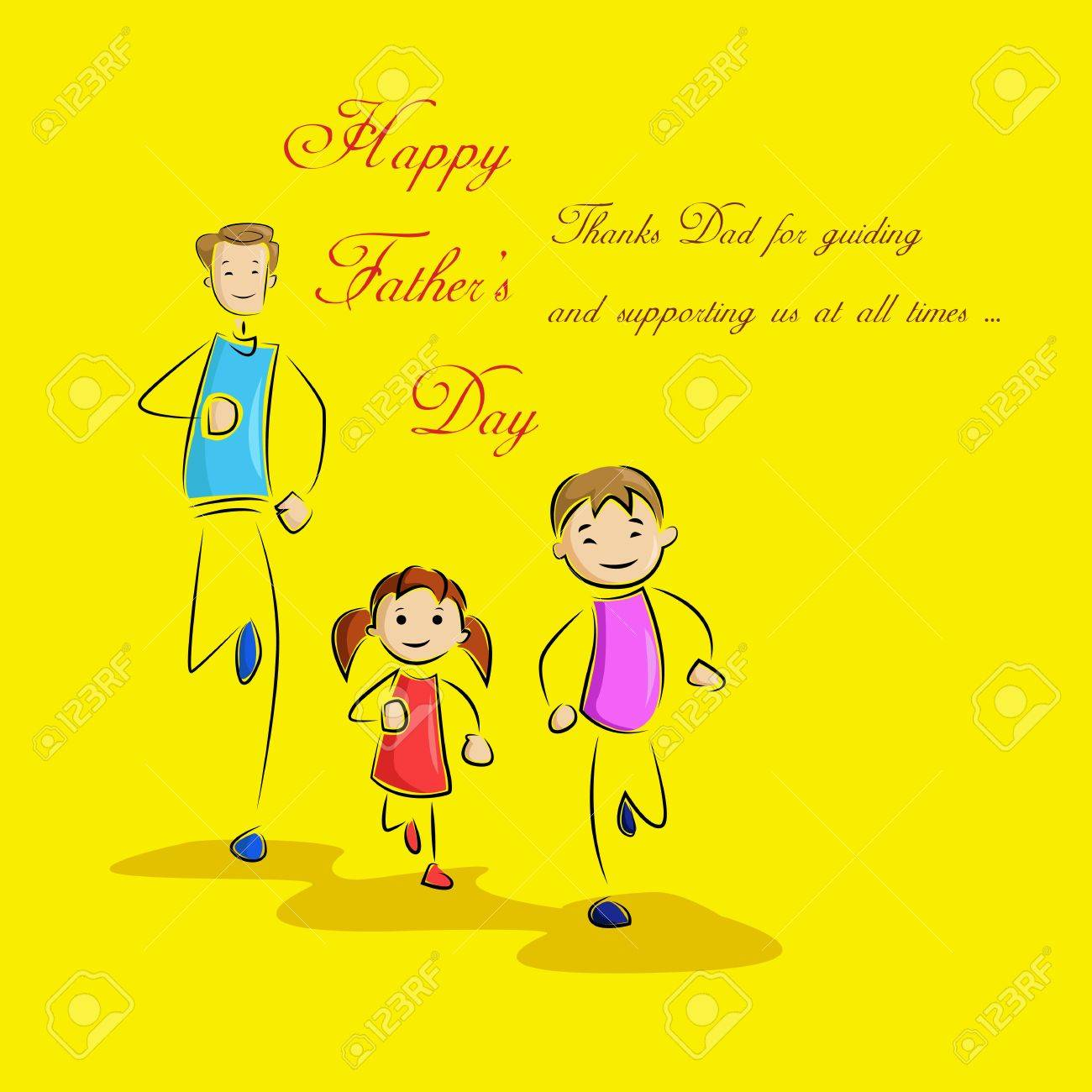 Father s Day Background with father and kids Stock Vector - 19721195