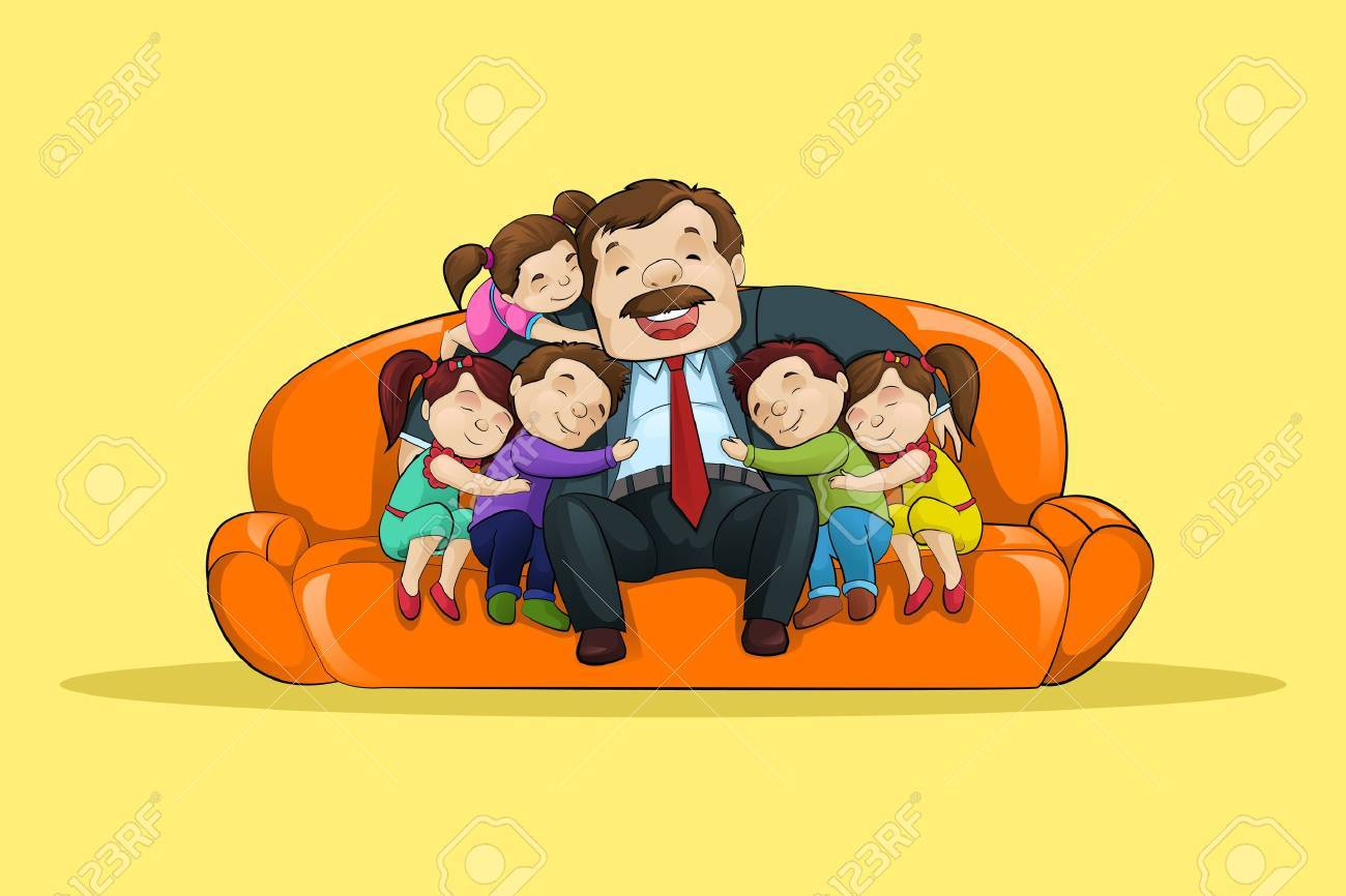 Father with Kid sitting in Sofa Stock Photo - 19869062