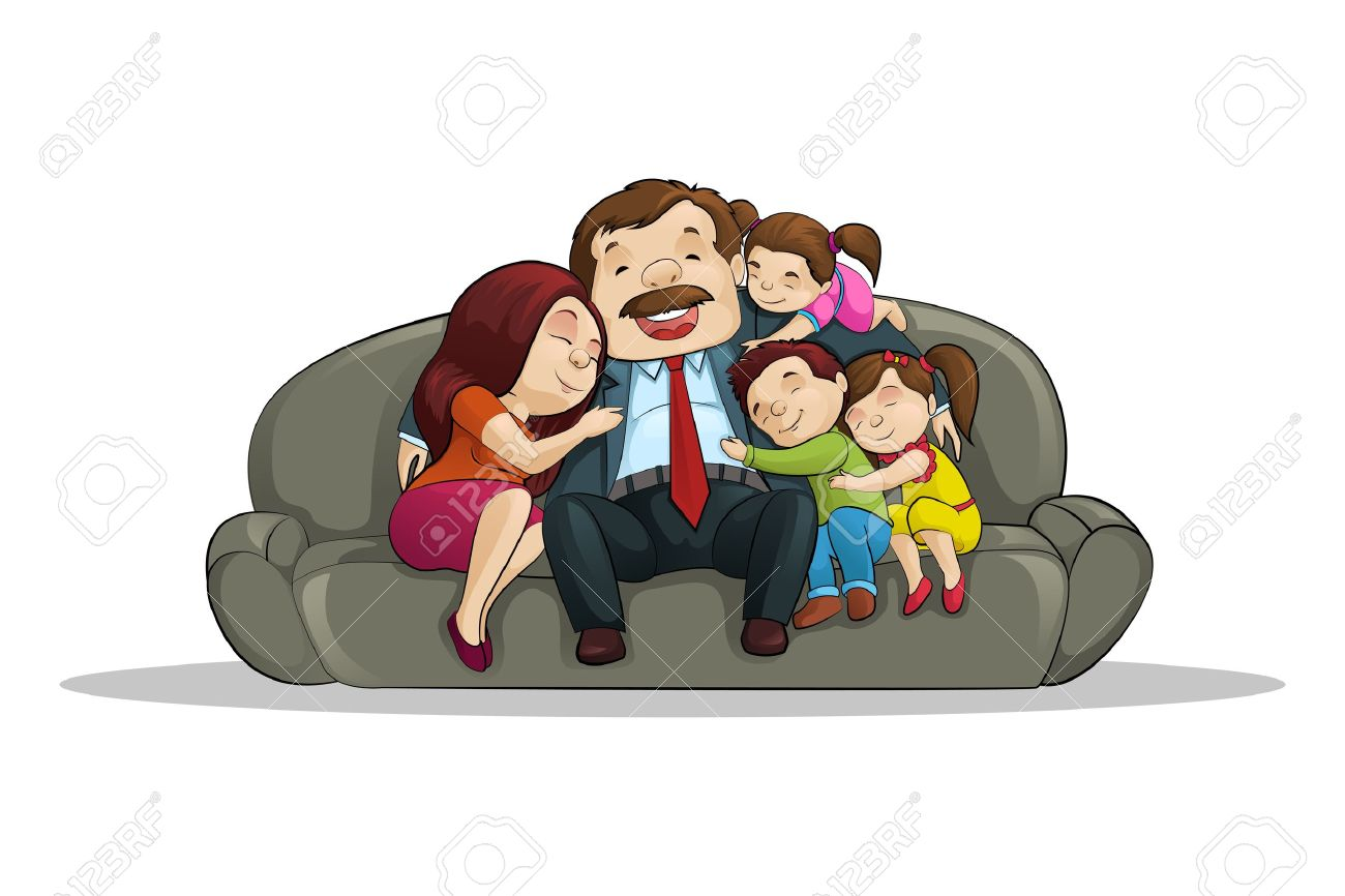 Happy Family sitting in Couch Stock Vector - 19869058