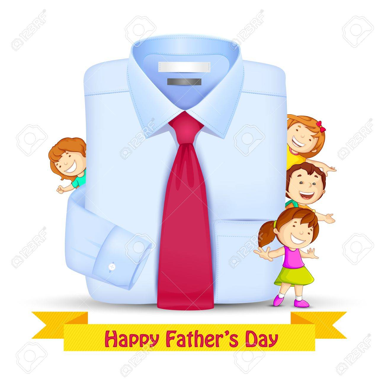 Father s Day Background with Kids Stock Vector - 19869061