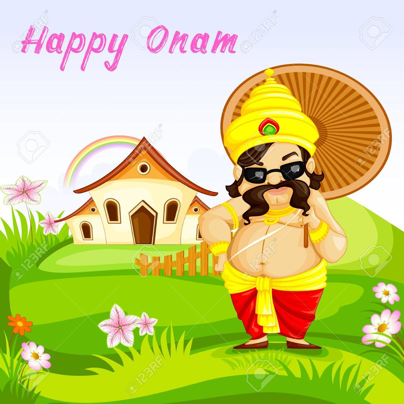 vector illustration of King Mahabali wishing Happy Onam Stock Vector - 22725061