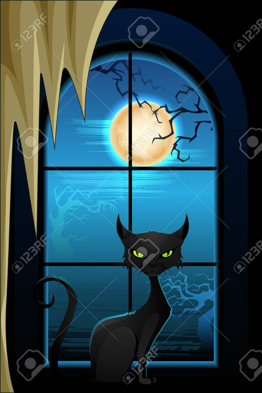 vector illustration of black cat in Halloween night Stock Vector - 22725062