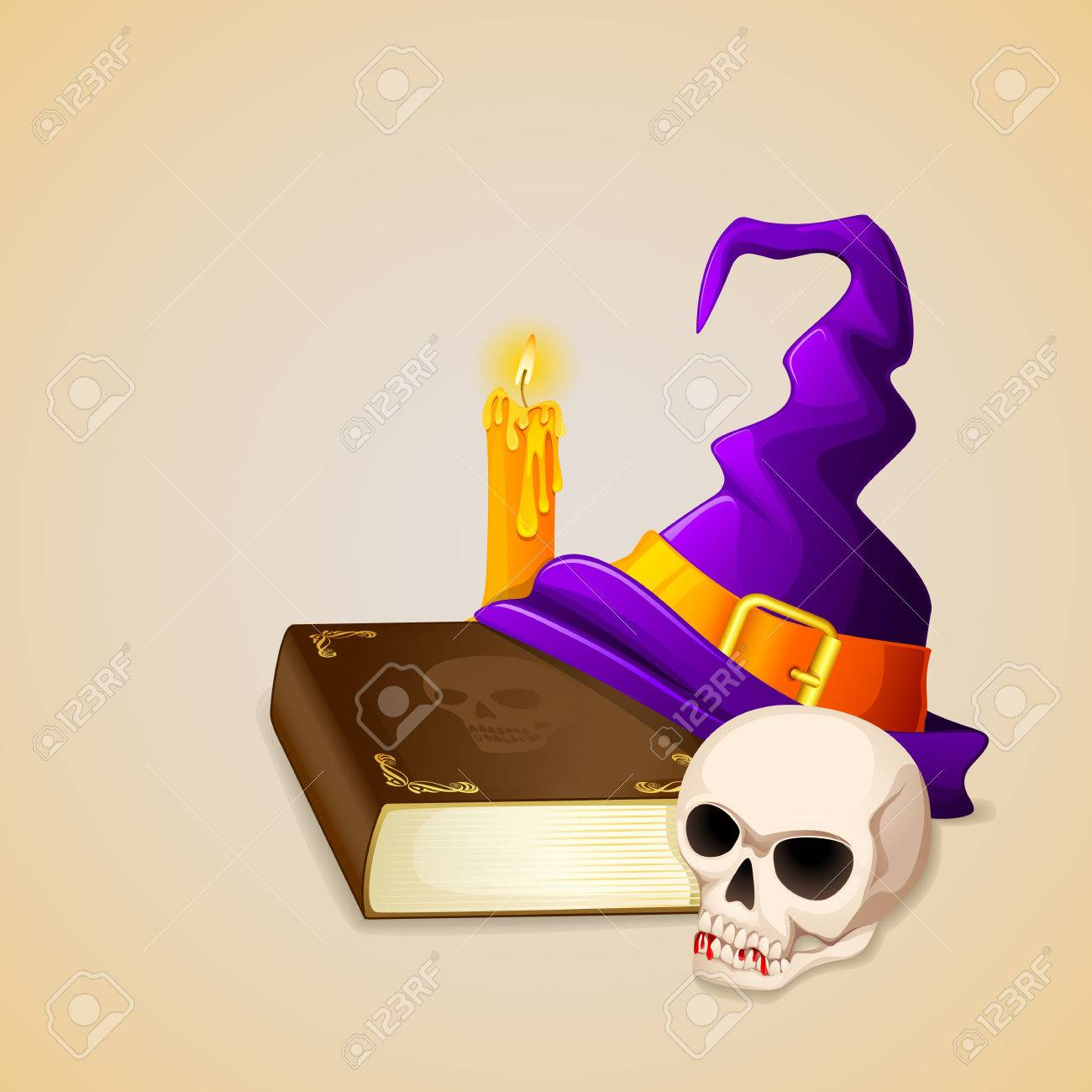 vector illustration of Witch Hat on antique book with skull Stock Vector - 22725090