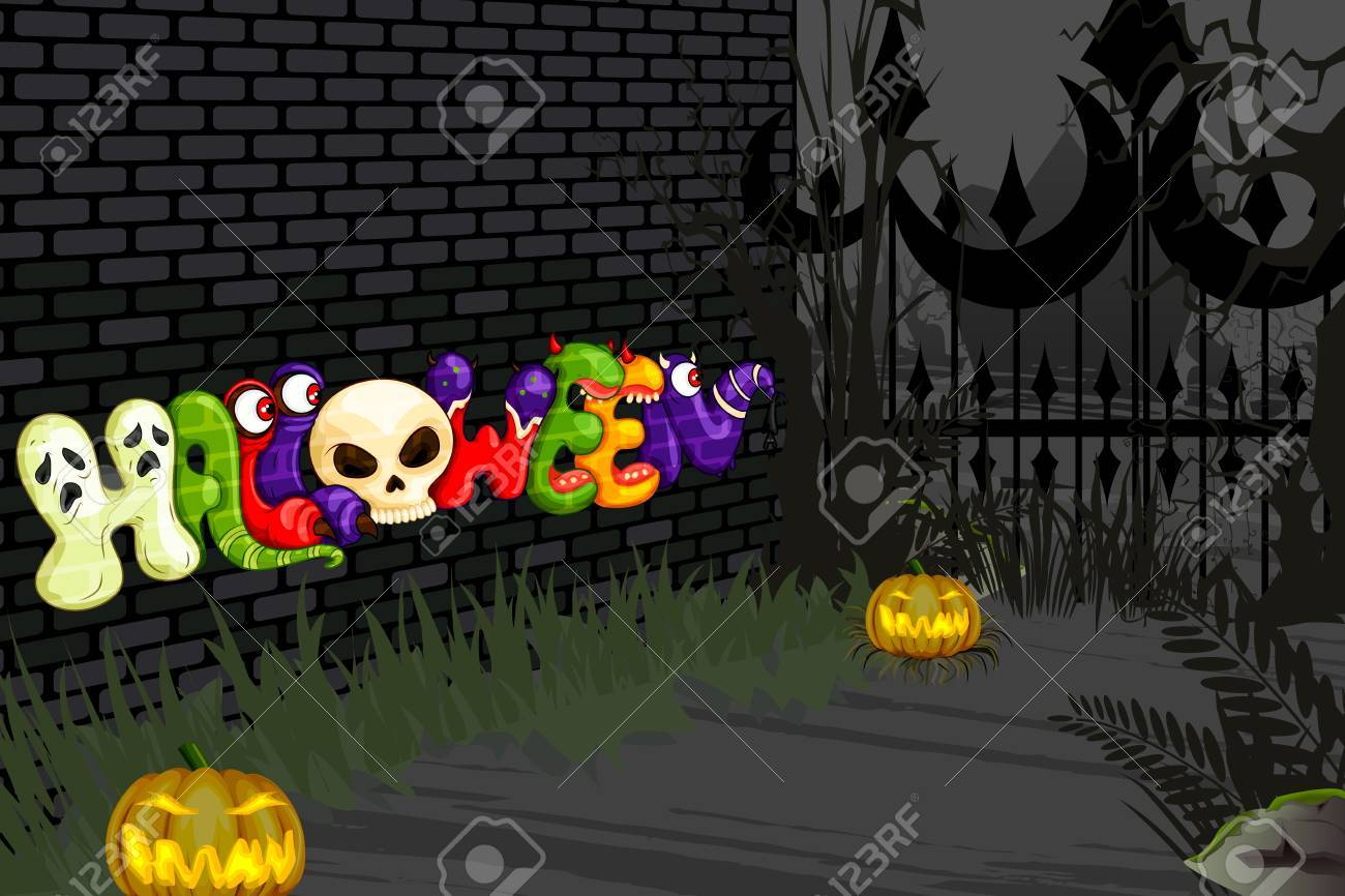 vector illustration of Halloween background in scary night Stock Vector - 22725233