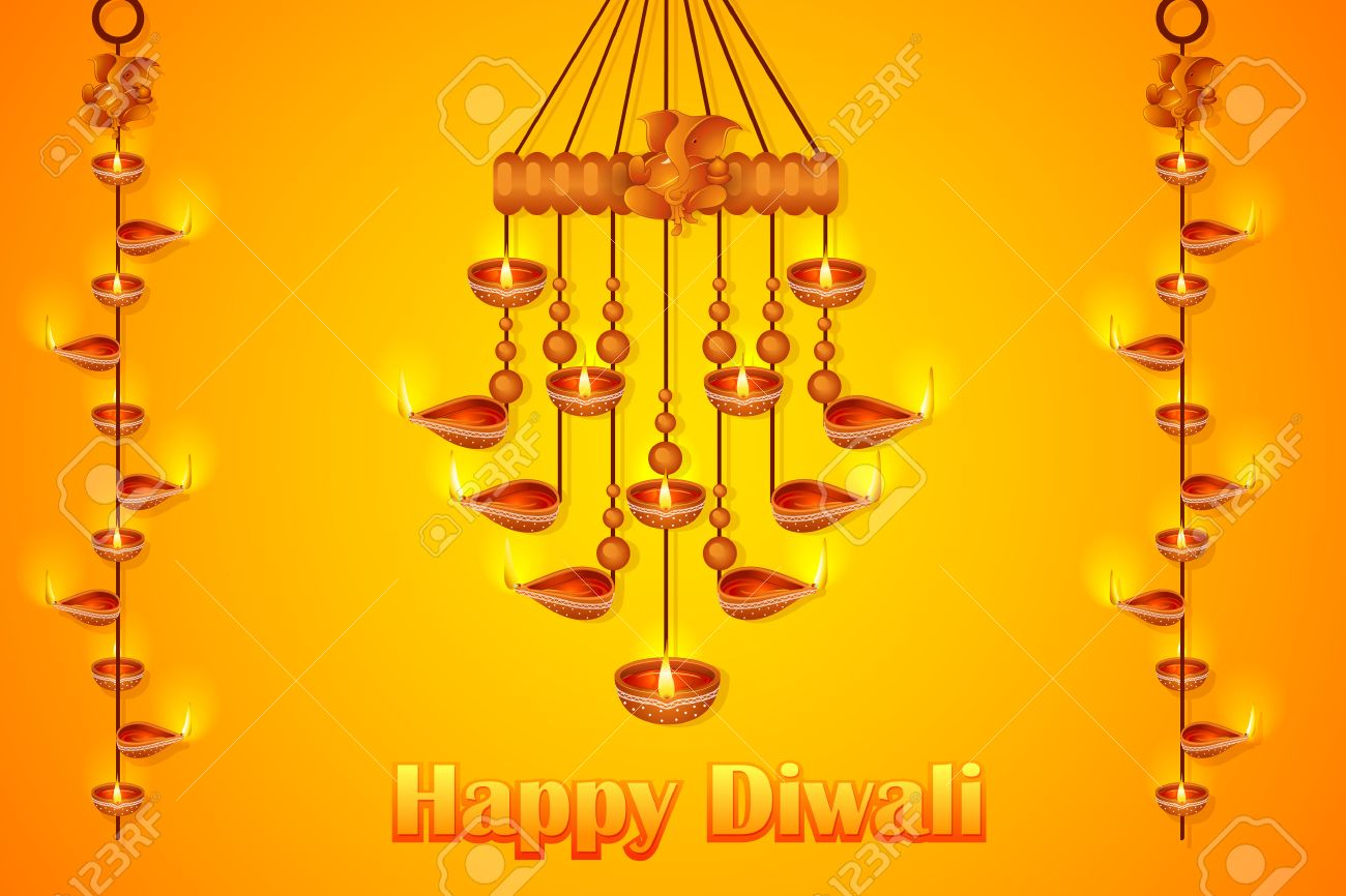 Illustration Of Lord Ganesha In Hanging Diya For Happy Diwali ... for Diwali Hanging Diya  587fsj