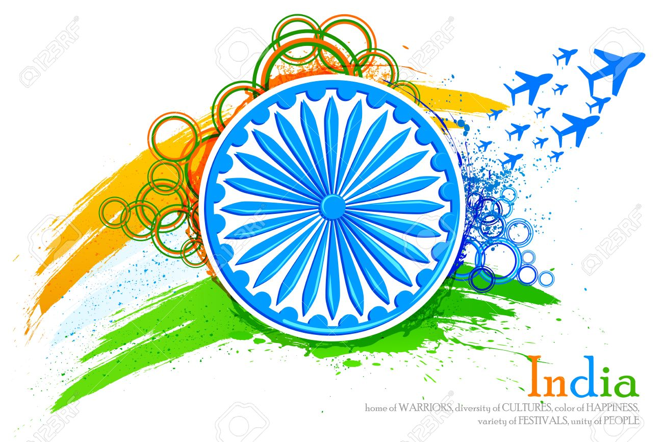 vector illustration of grungy Indian Flag with Ashoka Chakra and flying jet Stock Illustration - 26446771
