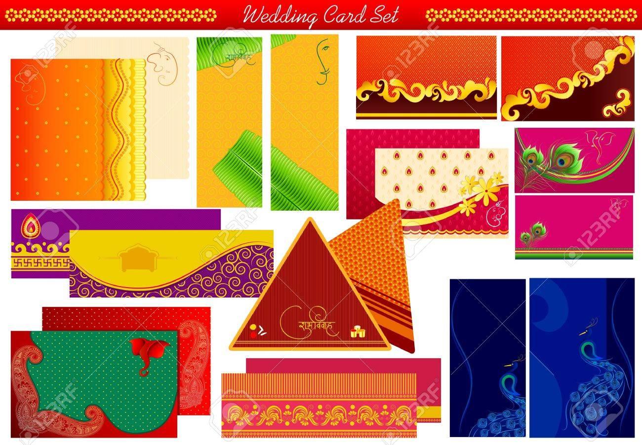 Vector Illustration Of Indian Wedding Invitation Card Stock Photo ...