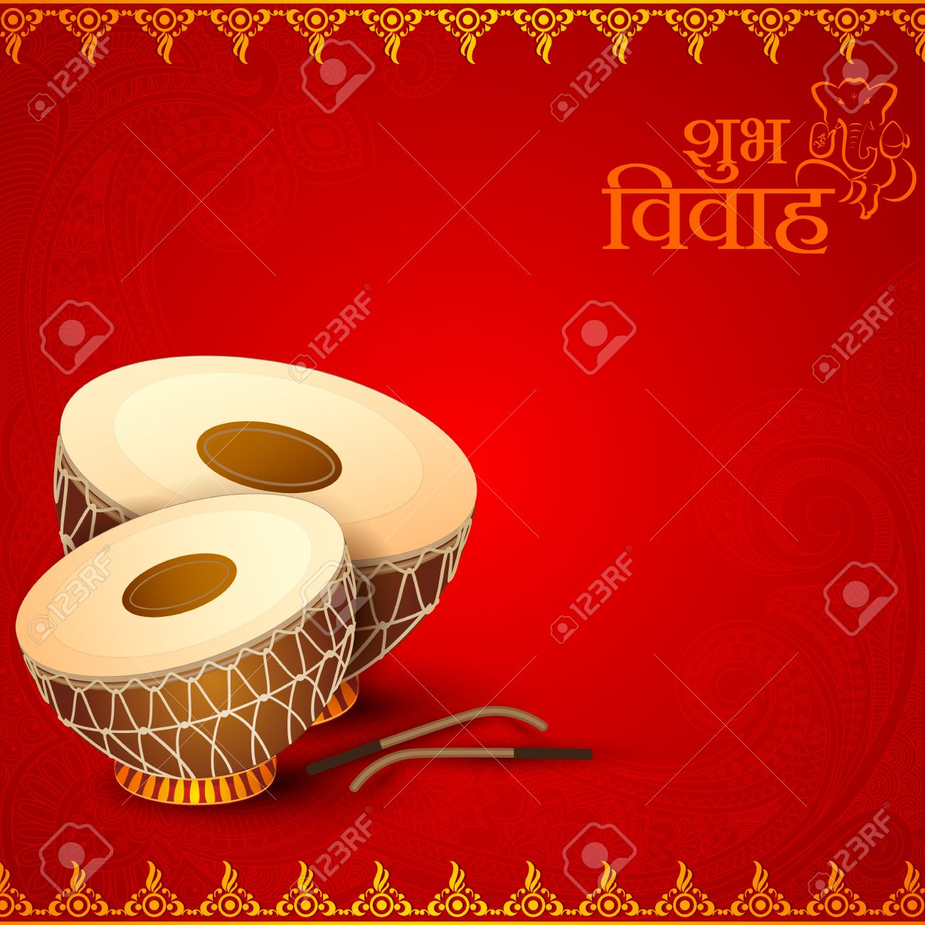Vector Illustration Of Drum In Indian Wedding Invitation Card Stock