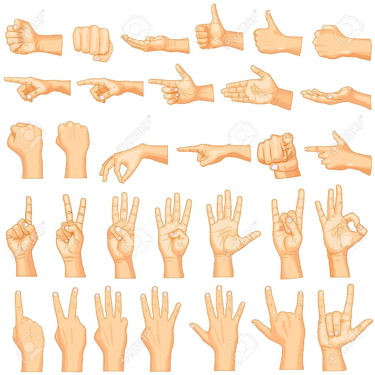 vector illustration of collection of hand gestures - 26446136