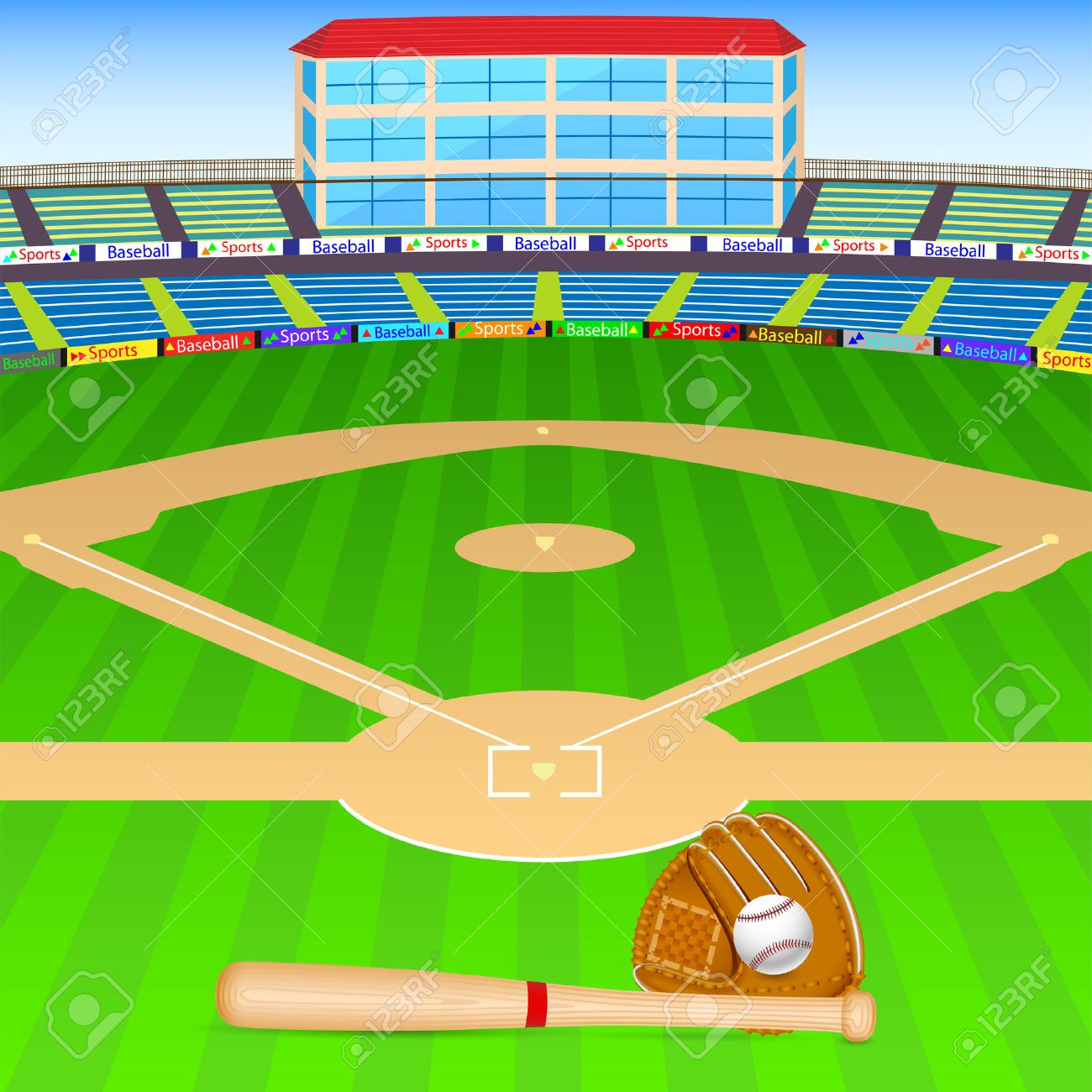 vector illustration of baseball field with bat, ball and gloves Stock Vector - 27535248