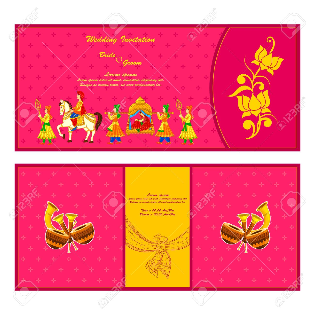 Vector Illustration Of Indian Wedding Invitation Card Royalty Free – Marriage Invitation Cards India