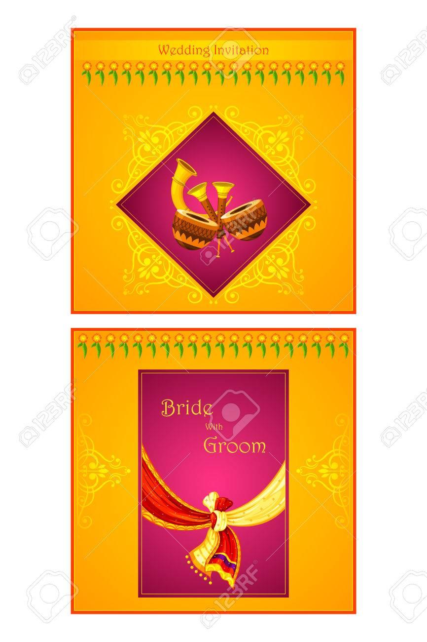 photo stock vector vector illustration of indian wedding invitation card indian wedding invitation Vector vector illustration of Indian wedding invitation card