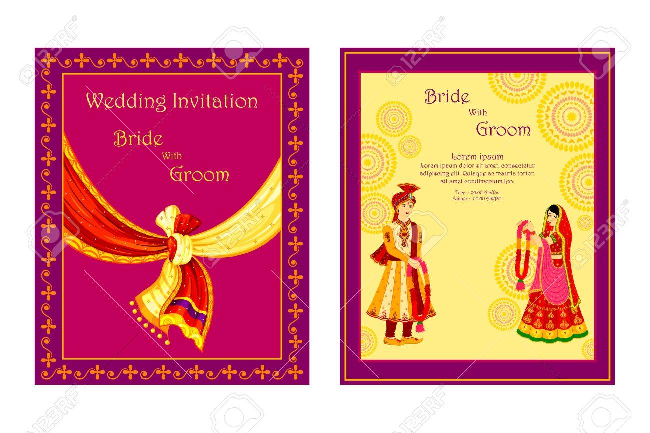 vector illustration of Indian wedding invitation card - 35121838
