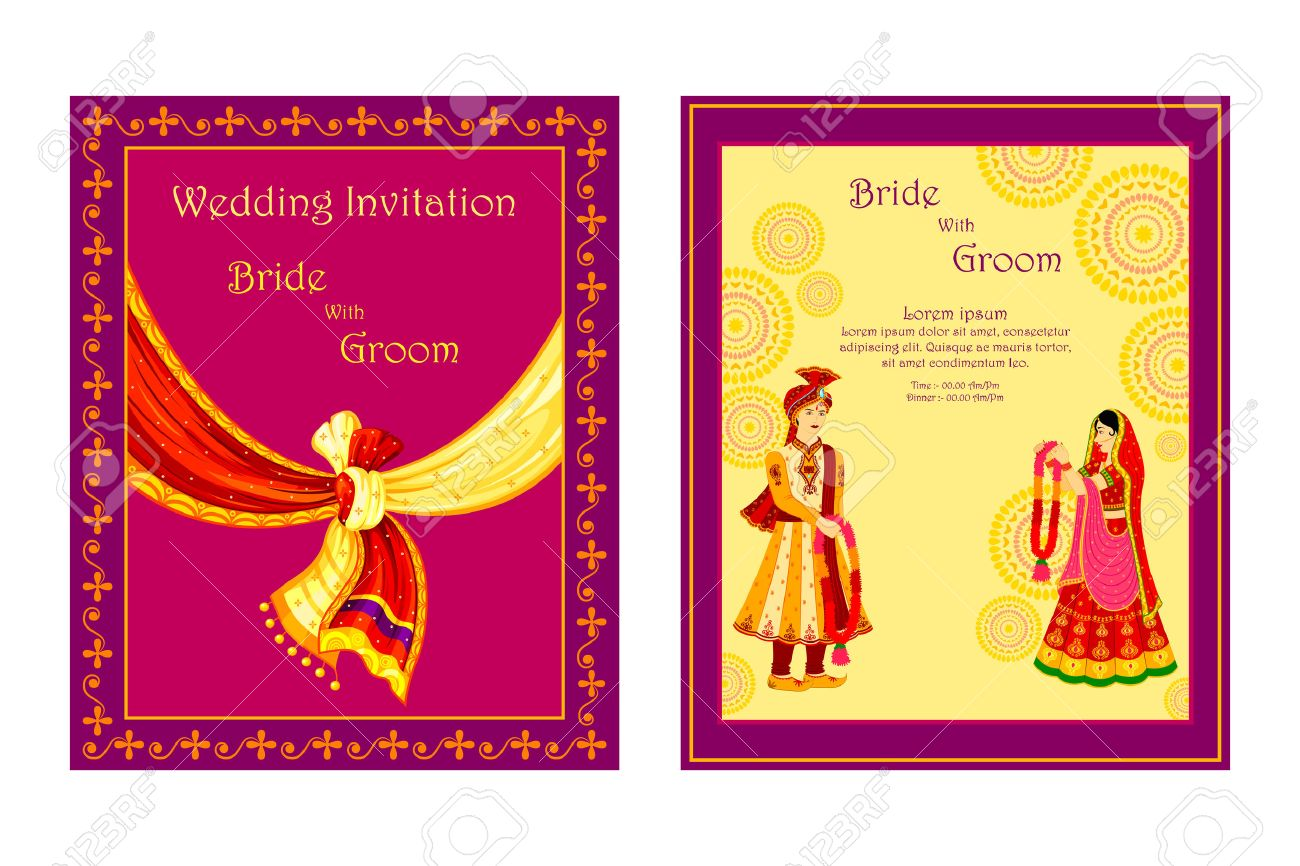 Vector Illustration Of Indian Wedding Invitation Card Royalty Free – Indian Marriage Invitation Card