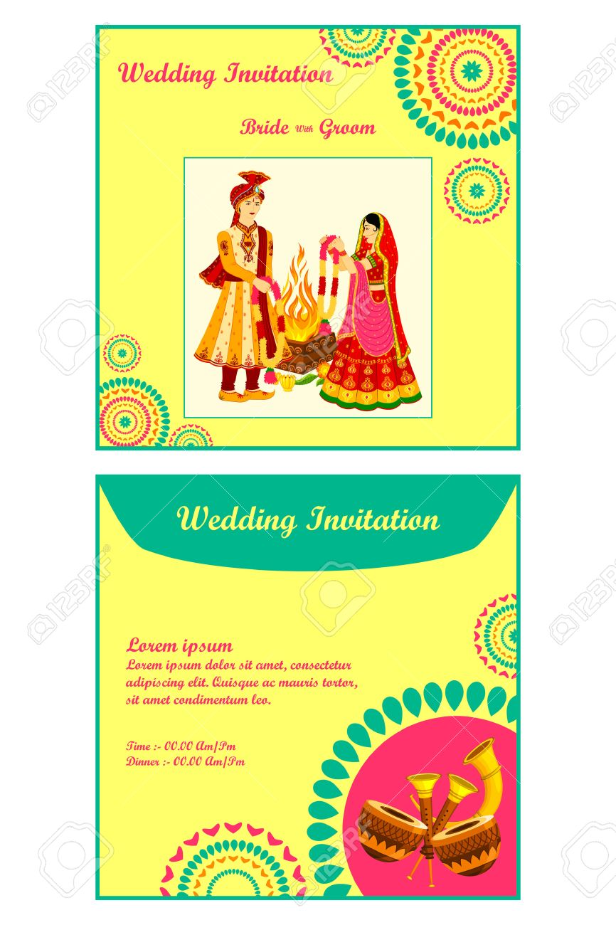 Vector Illustration Of Indian Wedding Invitation Card Royalty Free – Wedding Invite Card Stock