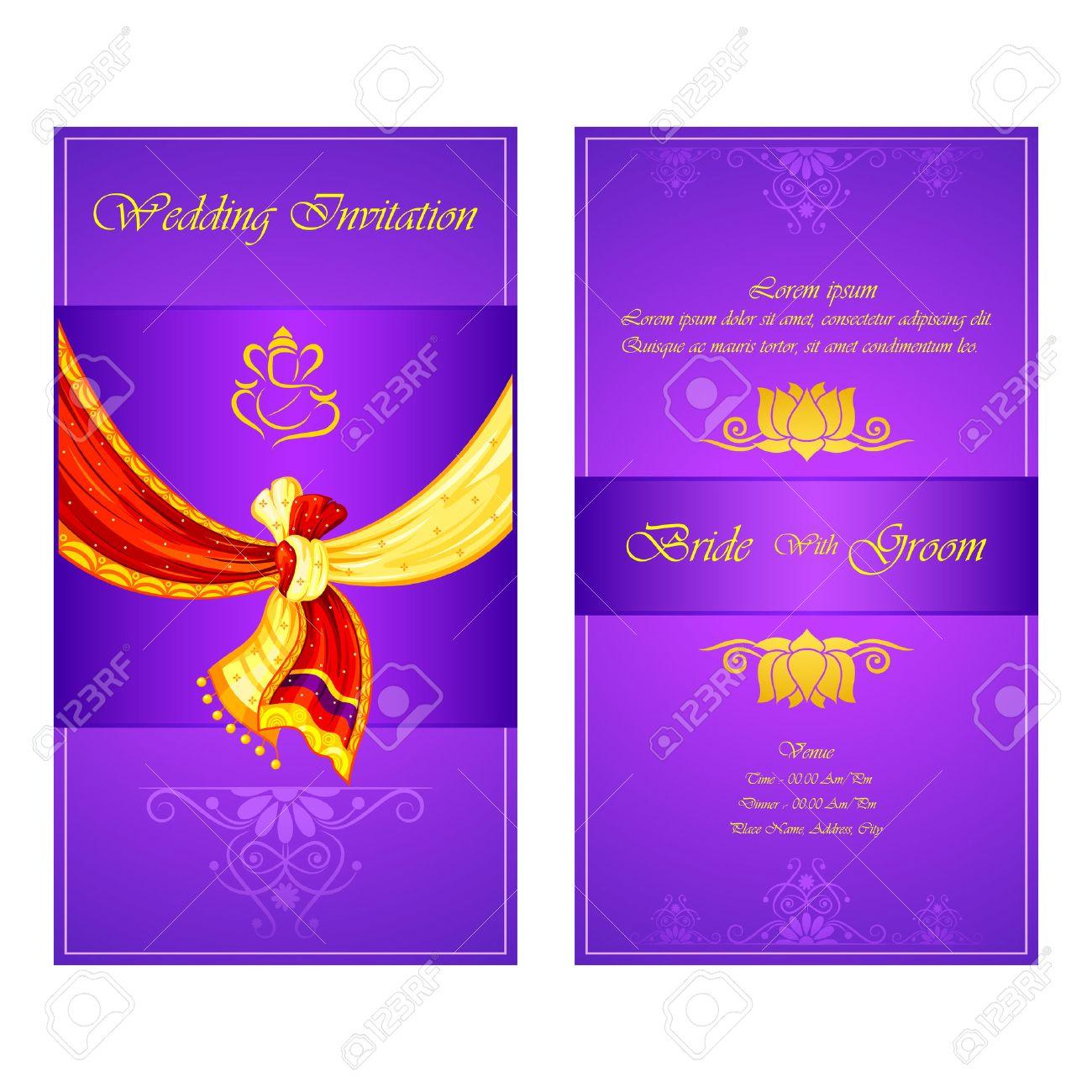 Vector Illustration Of Indian Wedding Invitation Card Stock