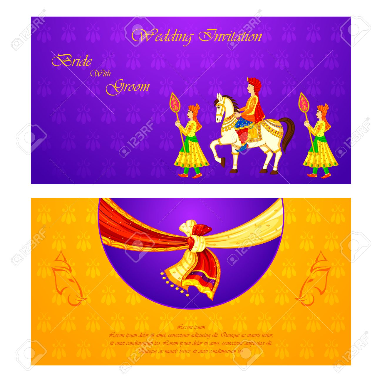Vector Illustration Of Indian Wedding Invitation Card Royalty Free – Indian Traditional Wedding Cards